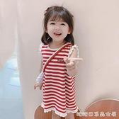 女童夏裝背心裙條紋2021新款無袖T恤洋氣兒童洋裝/連身裙寶寶裙子 快速出貨