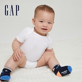 Gap嬰兒 純棉舒適搭肩圓領包屁衣 736682-白色