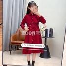 女童長袖洋裝2021新款春季韓版網紅洋氣中大童紅色公主時髦裙子