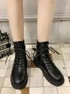 短靴 帥氣黑色馬丁靴女夏季英倫風百搭潮ins學生薄款短靴秋冬 晶彩 99免運