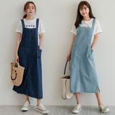 MIUSTAR 可愛斜口袋開衩吊帶牛仔洋裝(共2色)【NH1134】預購