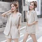 西裝兩件套 時尚雪紡西裝套裝女夏三件套遮肚短褲減齡職業兩件套-Ballet朵朵
