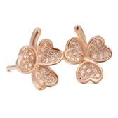 耳環 925純銀鑲鑽-三葉草造型生日聖誕節交換禮物女飾品2色73dm7[時尚巴黎]
