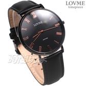 LOVME 羅馬時刻 都會風格 真皮腕錶 防水 藍寶石水晶 男錶 黑色 VL3012M-33-341