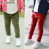 男童棉褲 純棉 彈力 口袋 造型褲子 簡約 長褲 Augelute 47115