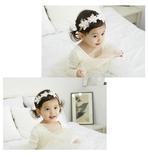 寶寶兒童髮飾 嬰兒 氣質甜美蕾絲花朵髮帶 歐美水鑽珠珠 彈性大 88175