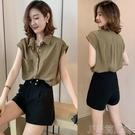 無袖襯衫純棉上衣設計感女小眾襯衫夏季新款女裝時尚韓版寬鬆顯瘦襯衣 快速出貨