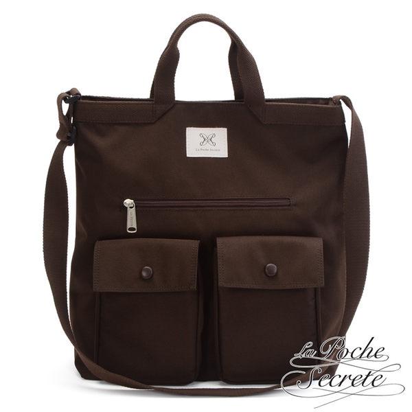 La Poche Secrete - 率性韓風自在休閒口袋帆布手提側背斜背包 深咖啡 YJ-004