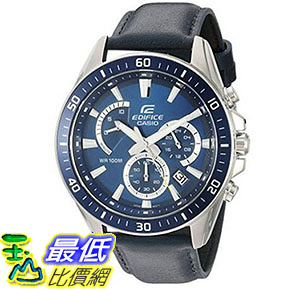 [美國直購] 手錶 Casio Mens Edifice Quartz Stainless Steel and Leather Automatic Watch Blue EFR-552L-2AVCF