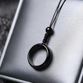 女项链 黑曜石瑪瑙平安扣指環吊墜男女式情侶款項鏈個性簡約網紅鎖骨鏈【快速出貨】