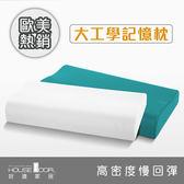 House door 歐美熱銷釋壓記憶枕超吸濕排濕表布標準工學型2入青碧藍