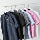 牛津紡短袖襯衫男夏季休閒時尚寬鬆襯衣青少年純色簡約百搭寸衣服 依凡卡時尚