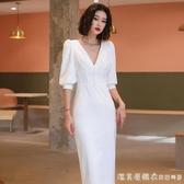 白色小晚禮服女平時可穿2020新款氣質名媛簡單大方宴會連衣裙顯瘦【美眉新品】