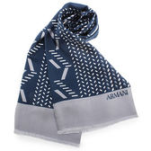 ARMANI Collezioni時尚斜紋圖樣絲質圍巾(藍色)102808
