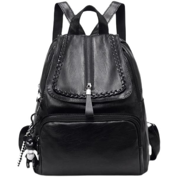 軟皮pu雙肩背包女新款韓版時尚百搭書包雙肩包女士旅行小包包