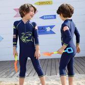 新春狂歡 兒童泳衣男童中大童女長袖連體水母游泳褲