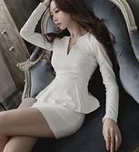 洋裝 小禮服 秋冬新氣質女裝長袖OL職業連身裙修身顯瘦性感秋假兩件包臀裙 韓風
