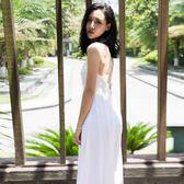 七夕節禮物-泰國巴厘島馬爾代夫海邊度假沙灘裙波西米亞裙白色露背吊帶連衣裙【優惠兩天】