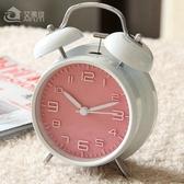 鬧鐘韓版可愛金屬鬧鐘創意靜音夜燈4寸時尚數字學生床頭鬧鐘簡約