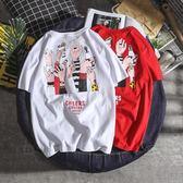 短袖T恤  原宿bf風夏季日系紅色短袖T恤男韓版潮流寬松學生半袖白色打底衫