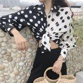 新款韓國chic氣質黑白拼色波點寬鬆隨意復古燈籠袖襯衫女防曬外搭【滿一元免運】