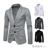 2018新款時尚男裝兩粒扣休閒小西裝外套夾克白色男裝西服褂子 西城故事