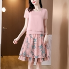 雪紡套裝連身裙韓版寬鬆顯瘦仙女兩件套裙子...