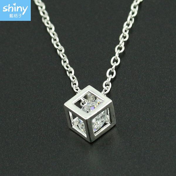 【36A60】shiny藍格子-簡約氣質‧時尚立體方塊鑽石項鏈