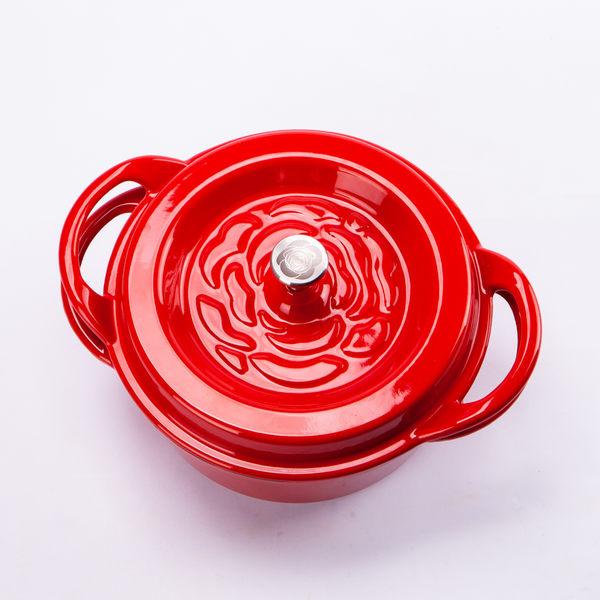 玫瑰鑄鐵雙耳鍋24cm-生活工場