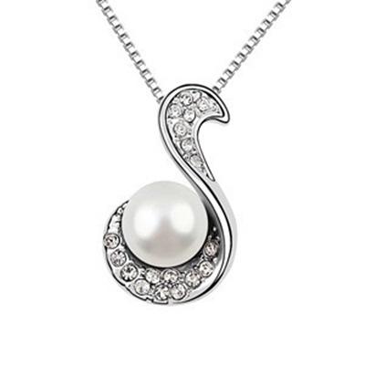 925純銀項鍊 珍珠墜飾-字母鑲鑽生日母親節禮物女飾品3色73aj4【巴黎精品】