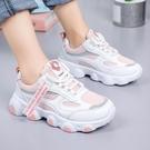 兒童運動鞋女童老爹鞋春秋新款中大童小學生白色透氣網面童鞋