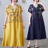 洋裝 中大尺碼女裝 胖妹妹2021夏季新款寬鬆顯瘦大碼棉麻中長款連身裙文藝范復古