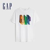 Gap男裝 創意印花圓領短袖T恤 586243-白顏色