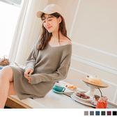 《FA1442-》素色針織v領長版上衣/洋裝 OB嚴選