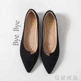 全黑色鞋子女百搭平底鞋小黑上班单鞋夏季软底舒适软皮职业工作鞋 可然精品