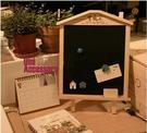 留言板 迷你創意小木屋掛式支架式家用小黑板擺件留言宣傳廣告板熒光板