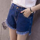 高腰牛仔短褲女夏前短後長a字褲修身顯瘦毛邊熱褲 街頭布衣