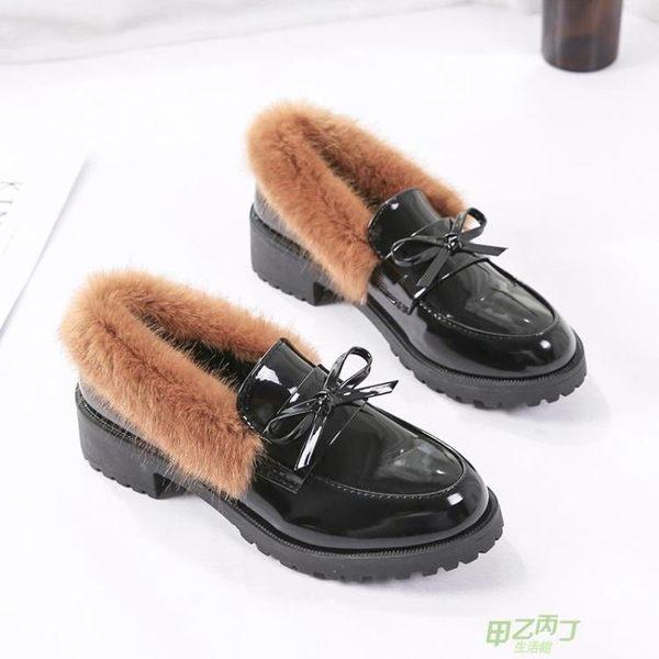 交換禮物 低跟鞋 英倫小皮鞋女鞋子刷毛秋冬季新款時尚百搭低跟蝴蝶結休閒單鞋