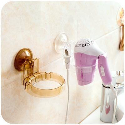 衛生間免打孔無痕置物架吸盤式吹風機架浴室壁掛電吹風架子