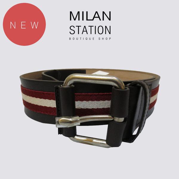 【台中米蘭站】全新品 BALLY 全皮寬版紅白織帶皮帶(咖)