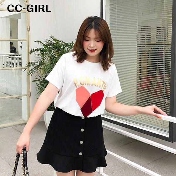 中大尺碼 愛心字母T恤上衣~共兩色 - 適XL~4L《 68187 HH 》CC-GIRL