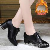 小皮鞋女單鞋中跟黑色休閒鞋粗跟百搭加絨【果果精品】
