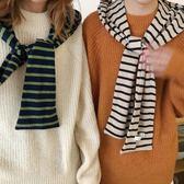 秋季韓國新款條紋披肩帽氣質百搭學院風連帽圍巾女.   花間公主