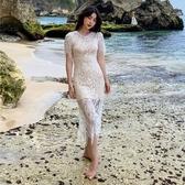 短袖洋裝-鏤空蕾絲露背白色女連身裙73ye49【巴黎精品】