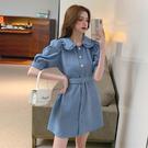 洋裝 娃娃領牛仔藍短袖連身裙-媚儷香檳-【D1812】