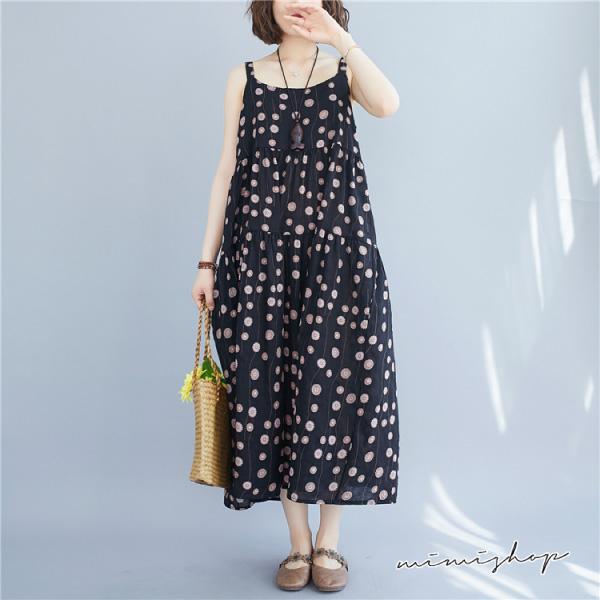 孕婦裝 MIMI別走【P521223】涼夏飛舞 小花棉麻吊帶裙 背心裙 洋裝 長裙