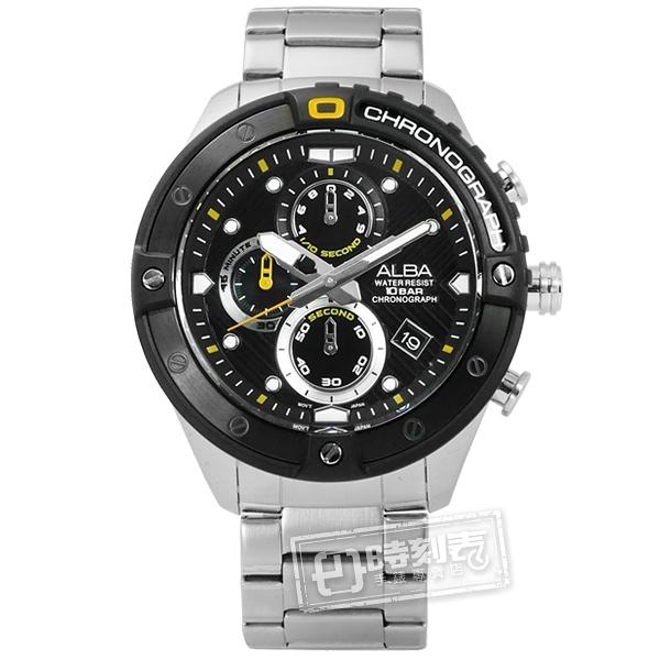 ALBA / VD57-X071D.AM3323X1 / 商務三眼 礦石強化玻璃 計時 日期 防水100米 不鏽鋼手錶 黑色 46mm