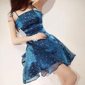 洋裝小禮服女閃閃亮甜美性感一字肩網紗蓬蓬裙顯瘦抹胸吊帶連衣裙 伊羅 新品