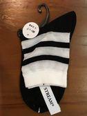 【京之物語】日本製stream透氣條紋休閒女性短襪(白/黑/藍)