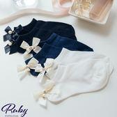 襪子 珍珠後蝴蝶結船型短襪-Ruby s 露比午茶